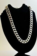 """Heavy Solid Taxco Mexican 925 Sterling Silver Chain Necklace. 21""""/53.5 cm, 295 g"""