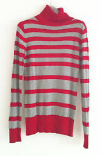 WAREHOUSE jumper red grey stripe polo neck long sleeves slim fit size 10