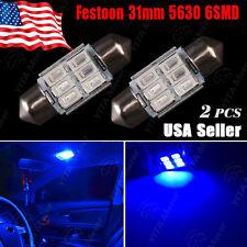 2X Ultra Blue High Power 5630 6-SMD Festoon 31MM DE3175 DE3022 Interior Light US