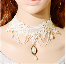Punk Victorian Goth Lolita Lace Flower Gemstone Collar Choker Pendant Necklace