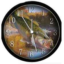 sharp wall clock. glow in dark wall clock - bass fish (black) sharp a