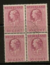 NETHERLANDS SGJ32 1951 30c PURPLE BLOCK OF 4 FINE USED