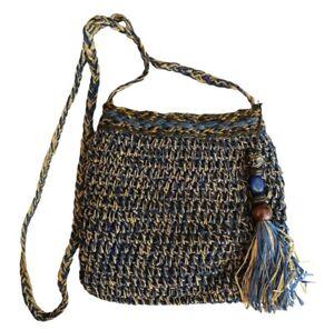 Sun N Sand Woven Straw Shoulder Bag Natural Fiber Blue Beige Lined Boho Purse