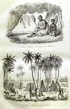 HAWAII - HONOLULU - WAIPIO - HULA  - Original 1834 Antique Prints set of 18