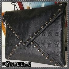 "Black Studded Skeleton Skulls 12"" Faux Leather Clutch Envelope Handbag W/ Strap"