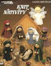 Leisure Arts KNIT NATIVITY Leaflet 305 Patterns for 9 Figures Christmas 1984 Vtg
