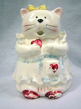 Vtg 1980s Large White Ceramic Cat in Blue Red Dress Pitcher Cottage Chic Country