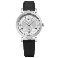Alexander Swiss Made Ladies Watch Stainless Steel Black Satin Strap Silver Dial