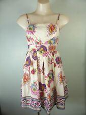 Pretty cream red pink Floral Boho Vintage style Sundress sz 8