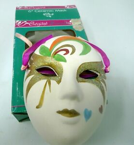 "VTG Porcelain Ceramic Mardi Gras Painted Wall Hanging Face Mask 6"" With Box"