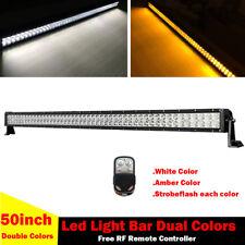 "50"" Amber/White/Strobe Led Work Light Bar Driving Offroad Warning SUV TRUCK LAMP"
