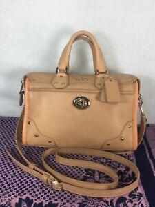 Coach Crossbody bag Carry bag Purse Handbag Shoulder bag Orange / Pink Leather