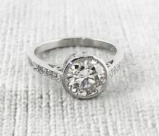 1.65 ct Vintage Antique Old European Cut Diamond Engagement Ring In  Platinum