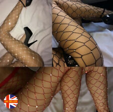 Womens Sexy Large Fishnet Rhinestone Suspender Lined Stripper Burlesque Tights