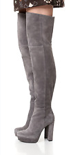 SUPER SEXY!!! ALICE + OLIVIA 'Halle' HIGH HEEL GRAY SUEDE OVER THE KNEE BOOTS 11