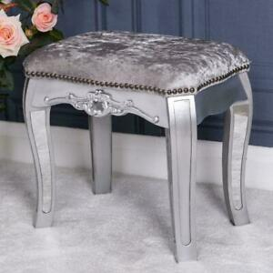 Silver Mirrored Stool Glass Fabric Ornate Dressing Table Venetian Bedroom Home