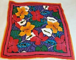 """Vintage Adrienne Vittadini SCARF - red colorful floral  - 100% Rayon - 30"""" x 30"""""""