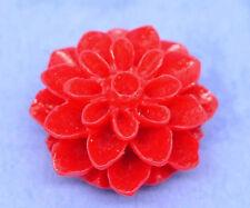 10 Resin Flower Cabochons, Chrysanthemum Mum RED 16mm cab0128