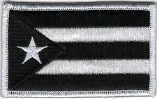 Puerto Rico Urban White Black Flag Patch VELCRO® BRAND Hook Fastener Compatible