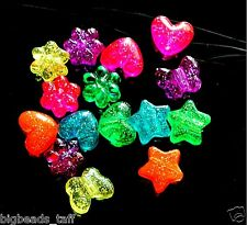 15pcs heart, butterfly, flower, star stardust acrylic pony beads approx 10mm
