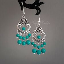 Natural Turquoise Chandelier Blue Green Earrings 925 Sterling Silver Hook Tibeta