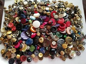 Huge Lot Celluloid Metal Buttons