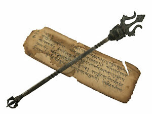Antique Trident Khatvanga Stick Bead Dangle Tantric Sceptre Shaman 53 CM 3390