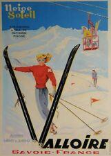 Vintage Ski Posters VALLOIRE SAVOIE, France, 1940, Art Deco A3 Travel Print