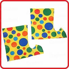 POLKA RAINBOW DOTS SHOE BOOT SPATS COVERS TOPS-CLOWN CIRCUS JESTER ELF COSTUME