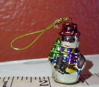 Christmas Snowman Ceramic Miniature hanging ornament vintage 1990s