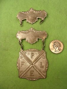 """NICE """"PAIR"""" OF VINTAGE ANTIQUE SILVER MEDALS + """"FPLE"""" KNIGHTS OF PYTHIAS"""" BADGE"""