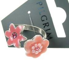 PILGRIM Adjustable Ring ENCHANTED FLOWER Silver Pink Swarovski & Enamel BNWT