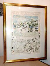 vintage Michael Eisemann signed hand embellished lithograph sampler art print