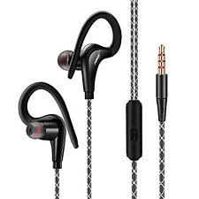Sports in Ear Over Hook Headphones Earphones With Mic for Smart PHONES 3.5mm Black