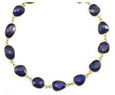 Blue Lapis Lazuli Faceted Necklace 14k gold filled chain Bezel Set 24 Inch Large