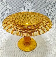 "Fenton Amber Hobnail Colonial  Crimped  Rolled Edge Footed Dish 5 1/4""T"