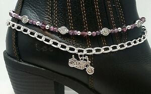 Handmade Boot Bling Bracelet Anklet Jewelry Motorcycle Purple Silver Chain Biker