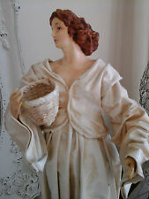 Old French Statue Doll-Jeanne d'Arc Living-Unique Elegant Lady Calico Figure 15""