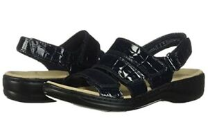 Clarks Women's Leisa Melinda Sandal - Black Croc 10N New In Box