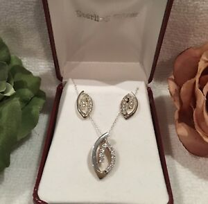 FINEST VINTAGE STERLING SILVER & CUBIC ZIRCONIA PENDANT/NECKLACE and EARRINGS
