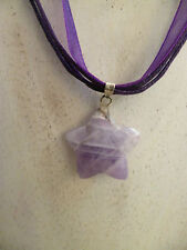 Celestial & Horoscope Amethyst Star Gemstone Necklace Ribbon Cord Clasp