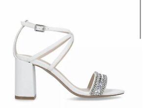 Carvela Gita White Embellished Block Heel Sandals Ladies  UK 7 EUR 40