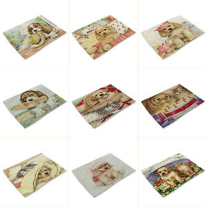 Cotton Linen Table Mats Cute Cartoon Animal Dog Pattern Placemats For Children