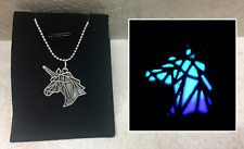 Origami UNICORN Head GLOW IN THE DARK Fantasy Charm Pendant Necklace Abstract