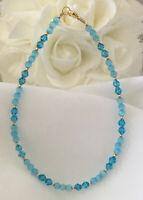 Aqua Blue Cats Eye Crystal Bracelet or Ankle Bracelet (2732) * Plus Sizes