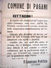 Salerno MANIFESTO DEL COMUNE DI PAGANI 14 aprile 1923 Epoca fascista Commissario