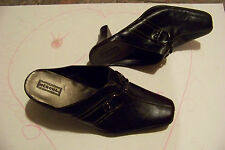 womens merona black leather square toe open heels shoes size 8