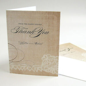 24 Vintage Lace Personalized Wedding Thank You Notes