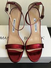 NIB $725 Manolo Blahnik Chaos Metallic Patent Leather Ankle Strap Sandals Size 8
