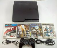 PlayStation 3 Slim 120GB PS3 Console Bundle 1 Controller & 4 Games CECH-2001A